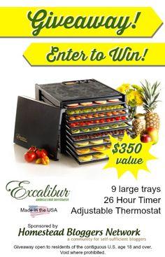 Win an Excalibur 9 tray dehydrator!!