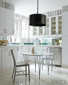 "Design Inspiration Revelation: Let's Call It ""Google Decorate"" restoration hardware, elle decor, tree, light fixtures, cabinet, new york apartments, wallpapers, vintage industrial, white kitchens"