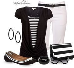 """#""""Black and White Cowlneck"""" by tufootballmom on Polyvore  Office clothes #2dayslook #fashion #new #nice #Officeclothes  www.2dayslook.com"""