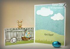 "(inside of card) Front & Back Easter card from Art Impressions Images:""The Fence"" (Sku#P1499), Bunny FB (Sku#K1566), F & B Peeking Rabbit (Sku#K1750), Egg Basket (Sku#G1755), Got Eggs? (Sku#D4015) fronts and backs from Ai"