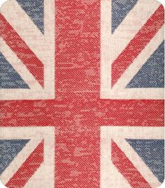 Union Jack Blue Red Woven Fabric