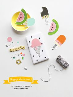 graphic, gift wrapping, happi summer, summer parties, summer gifts, free happi, gift tags, summer printabl, drinks