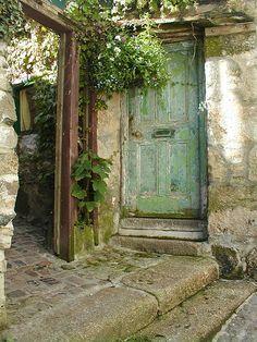 the doors, green doors, secret gardens, blue doors, color, rustic doors, garden doors, old doors, shades of green