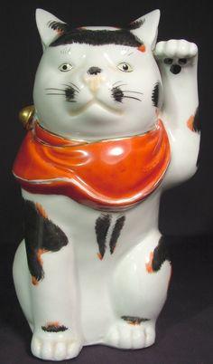 """Maneki Neko - Kutani (Attributed) - Painted Porcelain. Circa Mid 20th Century. 7-1/8""""."""