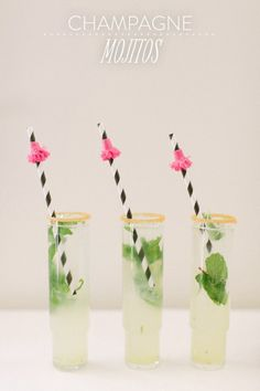 Style Me Pretty champagne mojitos  #cocktails #drinks #wedding #party #pretty