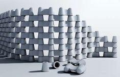 Curvy modular #concrete chain fence system #garden #design