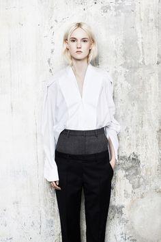 Maison Martin Margiela Pre-Fall 2014, white Oxford, pin-stripe trousers