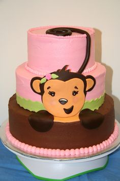 Girl monkey baby shower cake - A customer provided a napkin for me to use as a guide in making the cake.  She gave me free rein, and this is what I came up with.  I saw many wonderful ideas on CC.  The cakes are iced in buttercream, and the monkey is made from fondant.    http://www.modern-baby-shower-ideas.com/baby-shower-theme-ideas.html
