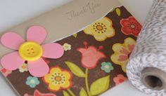 Thank You Card Handmade Thanks Brown Pink by CardsbyJeweleighaB, $3.50