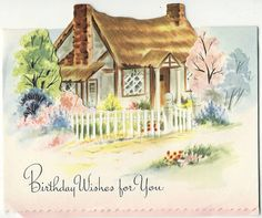 cottage - vintage birthday card