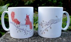 Red and grey squirrels ceramic mugs.