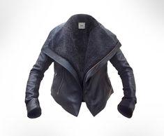 custom leather jacket w/ shearling lining