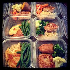 Packing Lunch for the Week:  Two different proteins for a little variety + veggies (e.g. sweet potatoes cut them in half with steamed green beans/broccoli/cauliflower in the microwave) + a starch (eg brown rice or bread)
