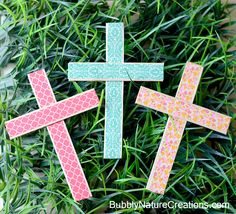 Washi Tape Cross { Simple Easter Craft }.. So cute!  Use Washi Tape and craft sticks to make these easy crosses!