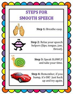 Steps for Smooth Speech for early elementary Repinned by SOS Inc. Resources http://pinterest.com/sostherapy.