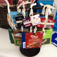 Gift card tree for bridal shower prizes.  Love this - people will probably be more excited about these than candles. :)