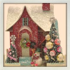 Putz miniatur, glitter houses, mini houses, candies, christma hous, putzchristma decor, cardboard houses, putz houses, christmas houses