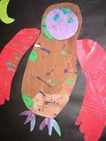 eric carle owls kindergarten craft, art lessons, art idea, craft idea, carl art, deep space, owls, eric carle, space sparkl