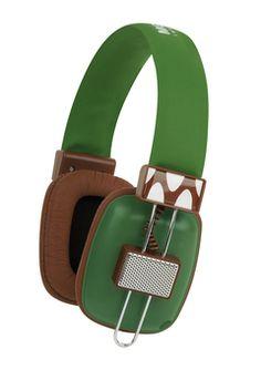 Green Rectangular Retro Stereo Headphones