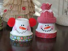 "Snowman craft out of small flower pots. Jennifer - for school craft, have pre-cut strips of scrapbook paper for base.  Start collecting ""accessories for them to use now.  We can use styro cups instead of flower pots depending on budget."