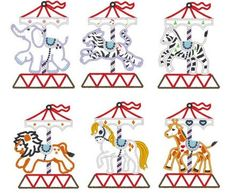 Carousel -  - machine embroidery appliqué designs (hall bath towel?)