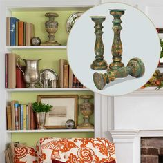 Shapely candle bases in a distressed paint finish add interest to a shelf even when they're off duty. About $60 for a set of three from Wayfair.com   Photo: Ted Morrison   thisoldhouse.com