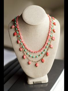 Coral & Turquoise DIY necklace