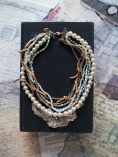 Chunky Pearl Necklace Bridal Pearl Necklace Lace Leather by sukran, $88.00