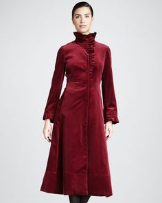 Ruffled Velvet Coat by Jane Post at Neiman Marcus.