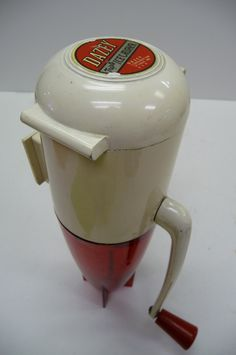 Vintage 50's Dazey Triple Ice Crusher RED space age rocket Kitchen wall mount Hand crank