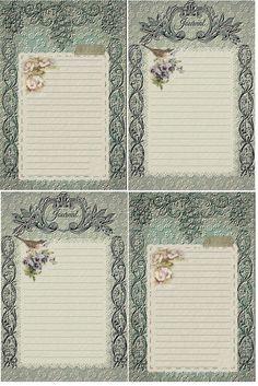 Vintage in teal Journal Cards Free-download