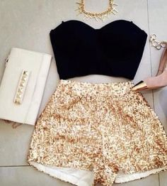 Gold High Waisted Shorts.❤ Short, Girl Swag, Fashion, Game Day Outfits, Party Outfits, Black Gold, Swag Outfits, Birthday Outfits, New Years