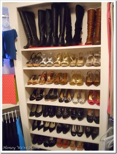 Shoe storage inside walk-in closet with detailed dimensions and organizational ideas for storing everything