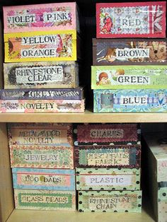 Decorated Cigar Boxes for Buttons and other small things