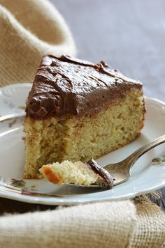 Yellow Banana Cake with Whipped Dark Chocolate Ganache #dessert #recipes