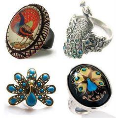 cute peacock rings