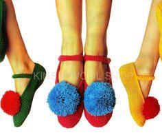Vintage 70s Crochet CHINESE Pompom Slippers PDF Pattern by KinsieWoolShop