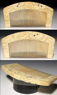 Meiji ivory Japanese kushi whose intertwining dragons had diamond eyes. It has the typical Meiji characteristic of the carving folding over the top of the comb.