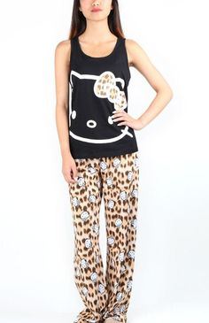 PJs with animal print bottoms and #HelloKitty top!