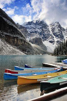 Winter season at Moraine Lake in Banff National Park, Canada.