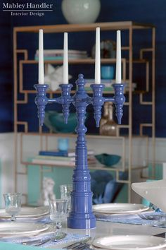 Dunes & Duchess: 4-arm Candelabra - Mabley Handler Beach House Dining Room at the 2012 Hampton Designer Showhouse
