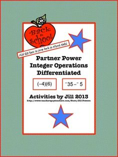 """This activity allows for differentiation because TWO sets of partner activities are included. The first """"Partner Power"""" version (labeled #1 and #2) consists of simpler questions. The other """"Partner Power"""" version (labeled *1 and *2) is more challenging. Each page has twelve problems for the student to solve and will require students to add, subtract, multiply, and divide integers.  CCSS 7.NS"""