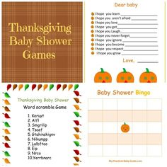 Free Printable #Thanksgiving #Baby #Shower Games.