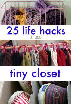 25 Lifehacks For Your Tiny Closet... I really needed this! So many great ideas for maximizing space!