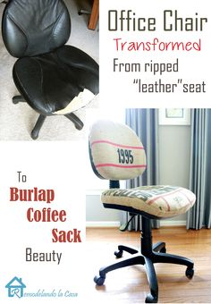 Office Chair Transformed from Ripped Leather Seat to Burlap