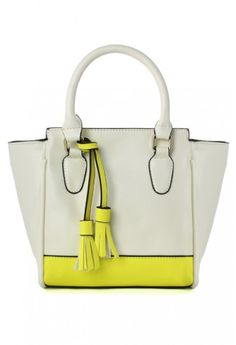 Color Block Tote Bag with Tassel Detail