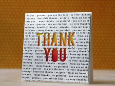 This handmade Thank You card shows how fun it can be to use the negative space from letter dies.  A border stamp was used repeatedly to create the background and the panel was popped up on a blended base.