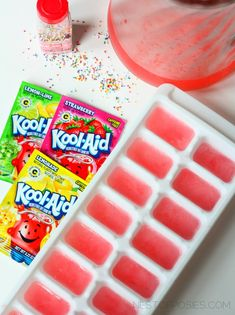 make striped kool aid ice cubes with sprinkles via Nest of Posies