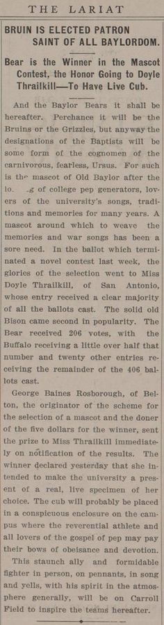 """On Dec. 17, 1914, The #Baylor Lariat announced the university's new mascot: """"Bruin Elected Patron Saint of All Baylordom"""". #SicEm"""