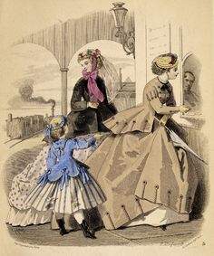 Illustration of Ladies' Fashions, from The Englishwoman's Domestic Magazine, 1860
